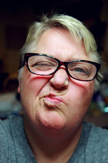 Portrait Of Woman Making Face