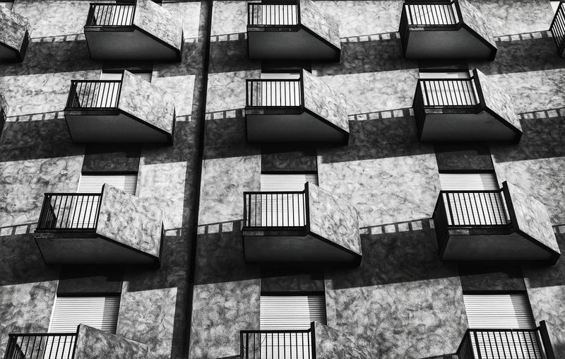 balconies Residential Building Residential Structure Balcony Under Below Blackandwhite Black And White Black & White Blackandwhite Photography Black And White Photography EyeEm Best Shots - Black + White Backgrounds Full Frame Window Pattern Architecture Building Exterior Repetition Façade Conformity Architectural Feature Architectural Detail Architectural Design