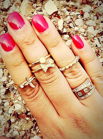 Human Hand Human Body Part Close-up Only Women Personal Perspective One Woman Only People Women Beauty Fingernail Nail Polish Adult One Person Day Outdoors Rings Wall Stone Wall Red Nailsdid London