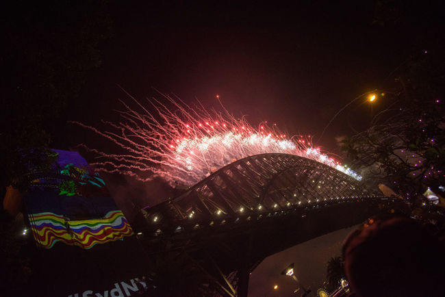 New Years 2016-2017 Architecture Arts Culture And Entertainment Bridge Bridge - Man Made Structure Built Structure Celebration City Connection Event Firework Firework - Man Made Object Firework Display Glowing Illuminated Light Motion Nature Night No People Outdoors Sky Sparks Water