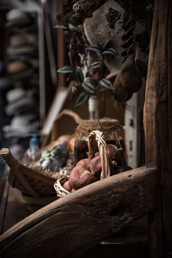 Close-up of wooden decoration for sale in market