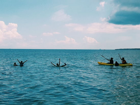 Sea Water Nautical Vessel Oar Horizon Over Water Silhouette Rowing Transportation Nature Outdoors Adult People Blue Day Adventure Beauty In Nature Sky Men Scenics Kayak Eyeem Philippines Mobile Photography