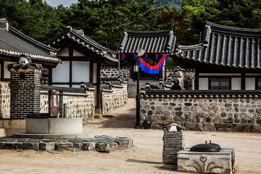 Abandoned Absence Ancient Civilization Architecture Building Exterior Built Structure Chair Cheongsachorong Entrance Historic History House In A Row Iron Pot Korean Traditional Architecture Namsan Traditional House Village Old Place Of Worship Religion Roof Roofed Wall Spirituality Tiled Roof  Wall Well Turned Out