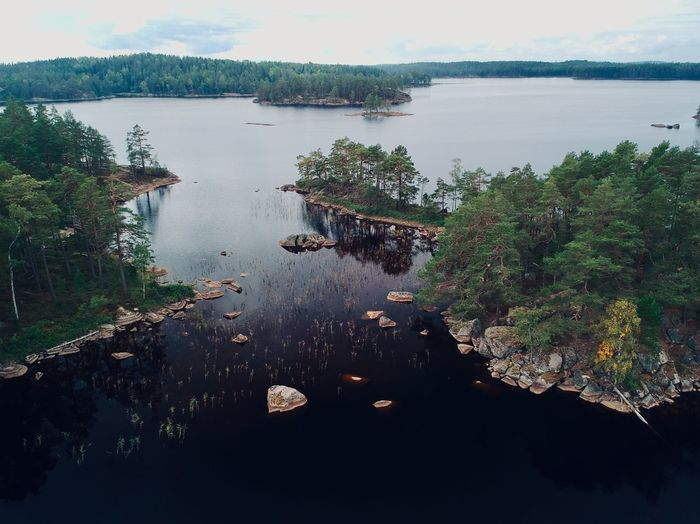 Aerial shot of the Tivedens National Park in Sweden. Drone  Sweden Aerial View Beauty In Nature Day Dji Drone Photography Forest Growth High Angle View Lake Nature No People Outdoors Plant Reflection Scenics - Nature Sky Spark Tivedens National Park Tranquil Scene Tranquility Transportation Tree Water