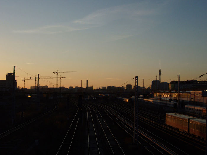 Berlin City Clouds Construction Cranes Dark Dusk Engineering Europe Evening Germany Golden Hour Industrial Lines Outdoors Reflection Shadows Sun Sunset Tracks Train Train Station Train Tracks Trains Vanishing Point