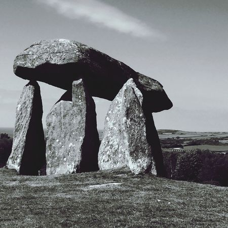 Blackandwhite Photography No People Burial Chamber Wales Neolithic Stones Neolithic Sky Nature Day Land Outdoors