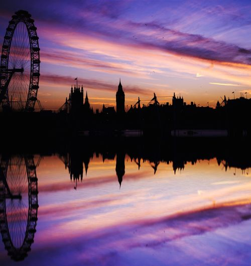 Reflection of silhouette millennium wheel and cityscape on thames river