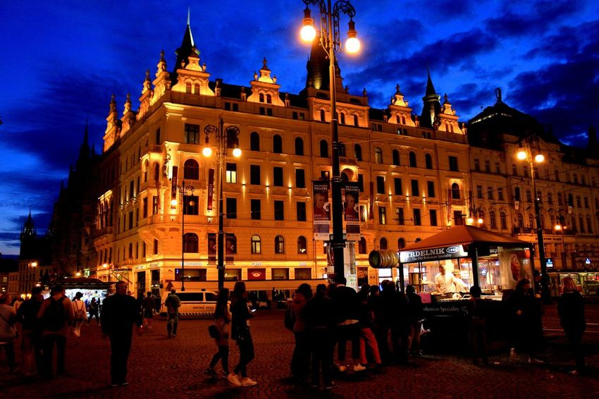 Prague Czech Republic Architecture Building Exterior Built Structure Illuminated Night Large Group Of People Sky