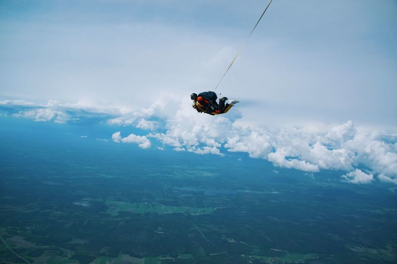 Skydive One Person Adventure Vacations Extreme Sports Sport Nature Travel Landscape Outdoors Travel Destinations Sky