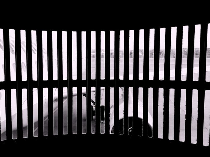 Close up of silhouette of railings