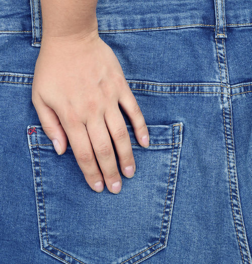Rear view of man touching back pocket of jeans