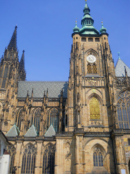 Architecture Blue Building Exterior Built Structure Cathedral Church Clear Sky Façade Famous Place Gold Gothic Style History International Landmark Low Angle View Outdoors Place Of Worship Prague Religion Sky Spirituality Tourism Tower Travel Destinations
