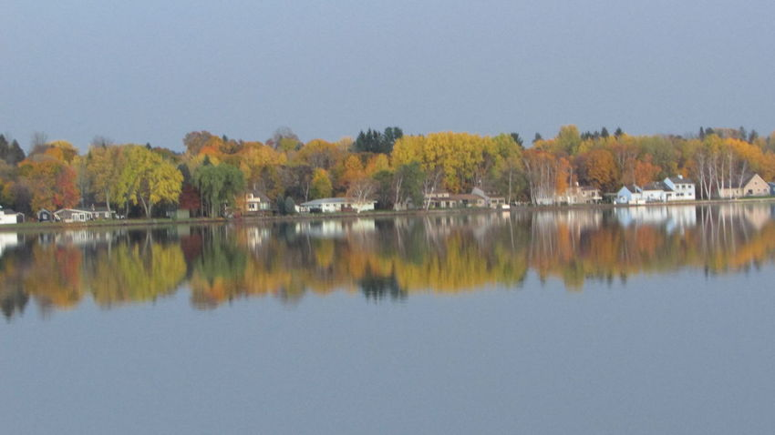 ACROSS THE LAKE Fall Colors Water Reflections Late Evening Taking Photos Autumn Lake Cadillac Pure Michigan