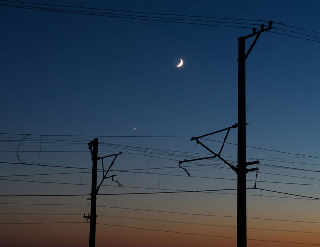 Low angle view of silhouette electricity pylon against clear sky during sunset
