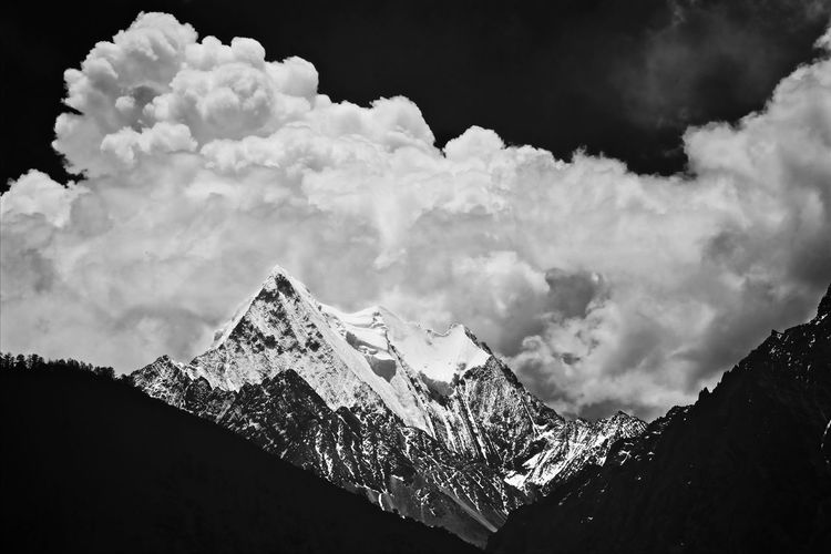 Black And White Jokul Snow Mountain Mountains