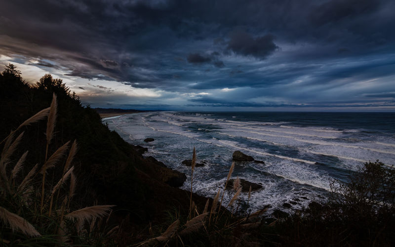 A stormy night in Trinidad, California. Sky Cloud - Sky Sea Beauty In Nature Water Scenics - Nature Tranquility Land Beach Nature Tranquil Scene No People Sunset Horizon Horizon Over Water Idyllic Non-urban Scene Plant Humboldt County California Pacific Ocean PNW PNWonderland