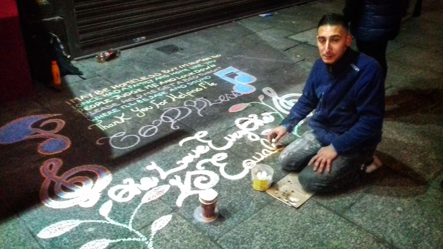 Homeless artist writes message for help on the streets of dublin😯 Hello World Taking Photos Check This Out From My Point Of View Ireland🍀 Dublin Homeless One Man Only Creativity Art And Craft Artistic Dublin At Night Multi Colored Outdoors Message For Help The Places I've Been Temple Bar Adults Only Light And Shadow Eyeem2017 Out And About Outdoors Photograpghy  Homeless Faces