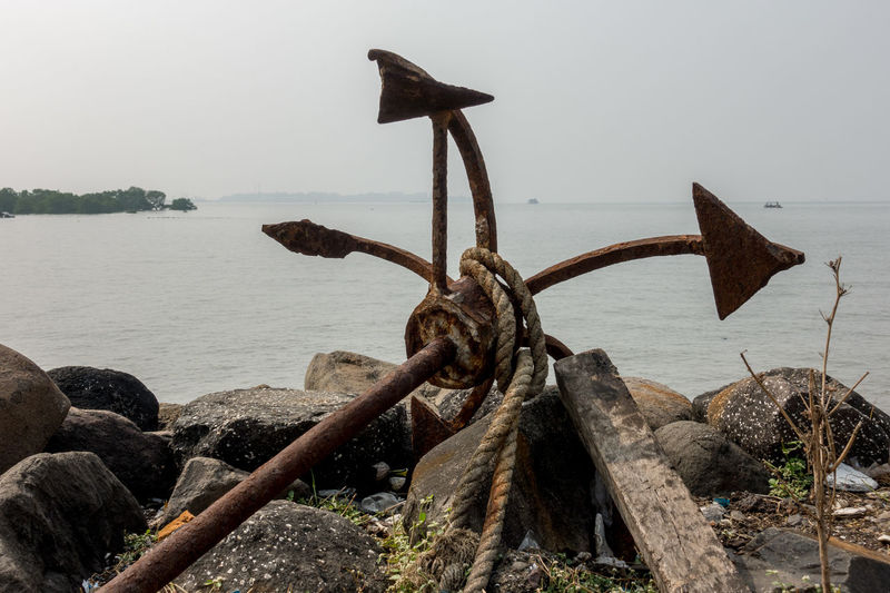 Anchor - Vessel Part Beauty In Nature Close-up Day Horizon Over Water Metal Nature Nautical Vessel No People Outdoors Rusty Scenics Sea Sky Water Wood - Material