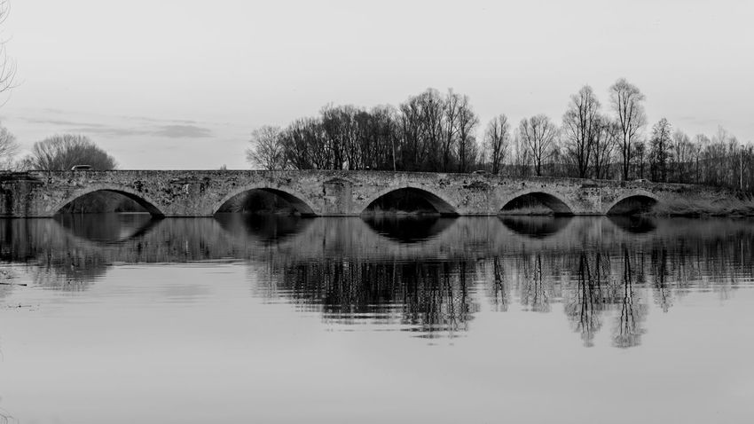 Gioconda's bridge monochrome Reflection Water Bridge - Man Made Structure Sky Outdoors Day Architecture No People Capture The Moment Canon Blackandwhite Photography Landscape_captures Blackandwhite Textured  Full Frame Tuscany View Tuscany With Love 💝