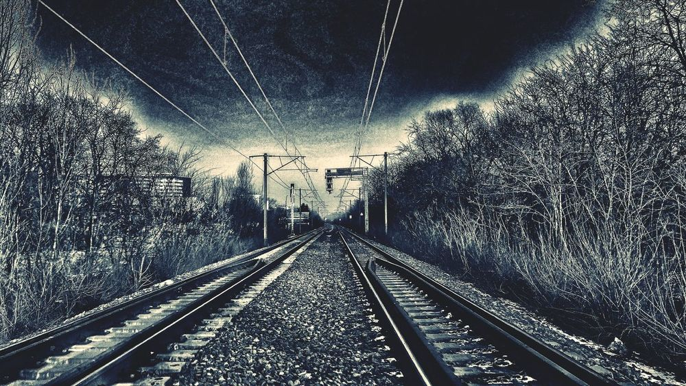 Transportation Sky Rail Transportation Railroad Track No People Tree Nature Day Outdoors Trees And Sky Black And White Black & White Wintertime Railing Railway Rails Railway Tracks Railroad Track Artistic Edit Artistic Expression Mode Of Transport Railway Track Railroad Tracks Snow ❄ Transportation