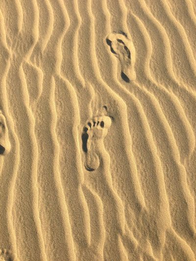 Two footprints in the sand of the desert Desert Patterns In Nature Two Footprints In The Sand Day Foodprints FootPrint High Angle View Nature No People Outdoors Patterns Patterns & Textures Sand Track Tracks In The Sand Two Foodprints