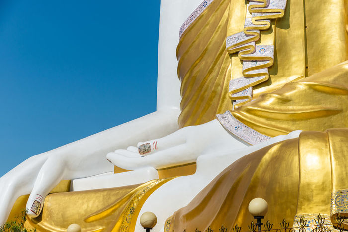 Kyaik Pun Pagoda, Four Buddha, Bago Bago Pagoda Travel Photography Architecture Built Structure Burma Culture Detail Gold Colored Golden Color Human Representation Kyaik Pun Pagoda Low Angle View Myanmar No People Outdoors Photo Photography Place Of Worship Religion Sculpture Sky Spirituality Travel Destinations