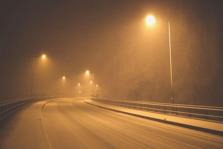 Japan Winter Snow Illuminated Night Street Light Road