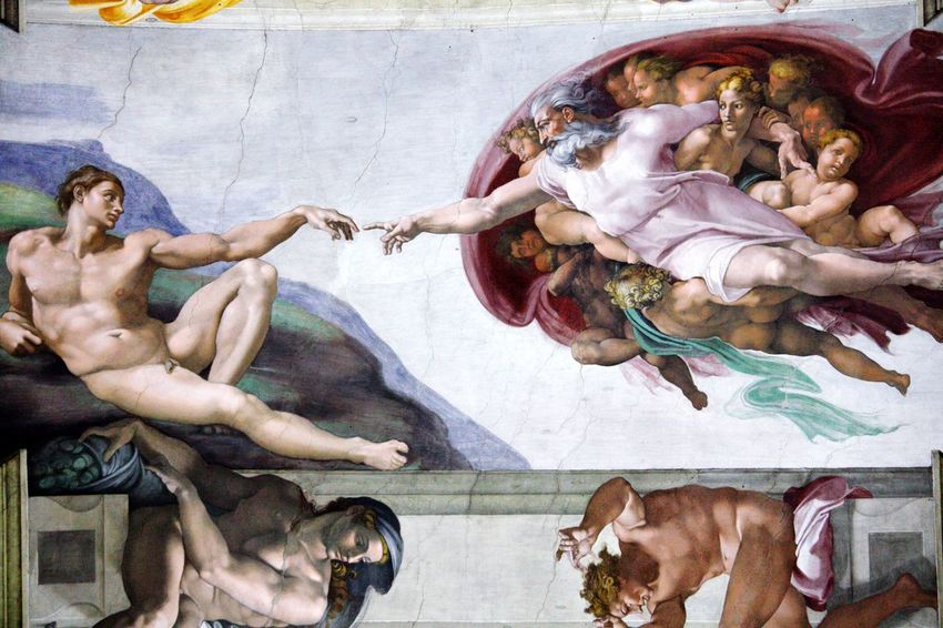 Michelangelo Ceiling God Finger Jesus VaticanCity Bible Religious Architecture Design Architecture Religion And Beliefs Religion Christianity History Renaissance Pope Sistine Chapel  Italy Vatican City Painting Ceiling Art Vatican Michelangelo Michelangelo Man And God Day People Domestic Animals Indoors  Adult Friendship The Graphic City