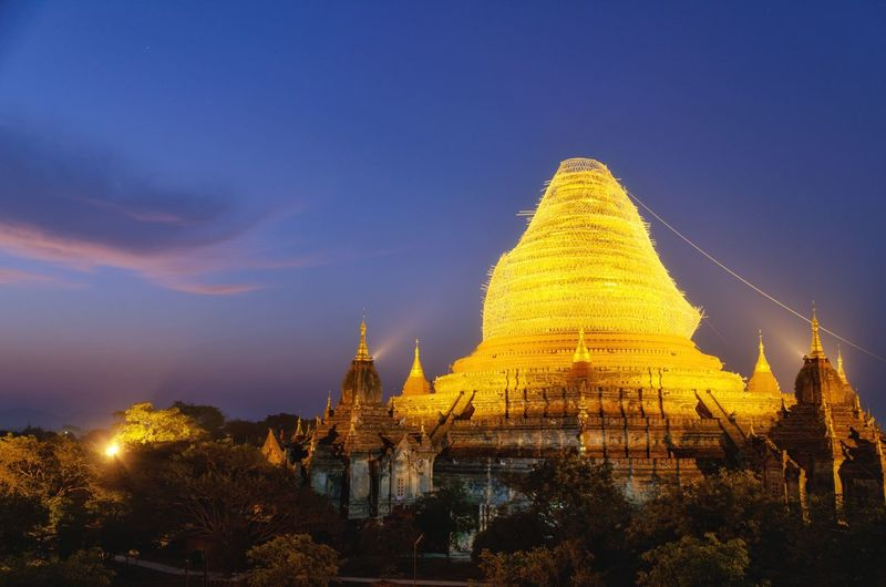 Dawn at Dhammayazika Ancient Religion Architecture History Pagoda Travel Destinations Spirituality Gold Colored Gold Travel Ancient Civilization Night Sky No People Capture Tomorrow