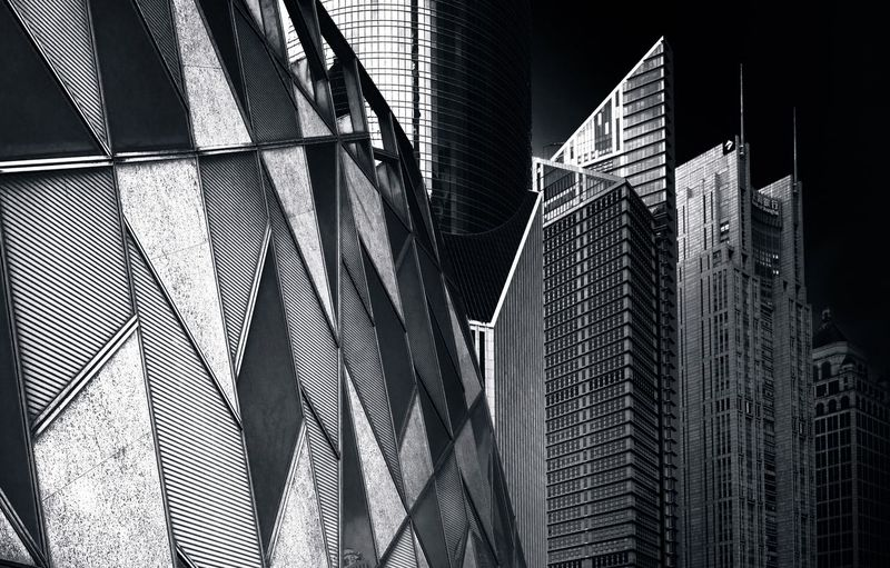 Shanghai Architecture Black and White Series Architecture_collection Cityscape Arc Bw Bnw_captures Bw_collection BW_photography Built Structure Architecture Building Exterior Building Low Angle View Office Building Exterior City Skyscraper No People Modern Tall - High Pattern Tower Glass - Material 17.62°