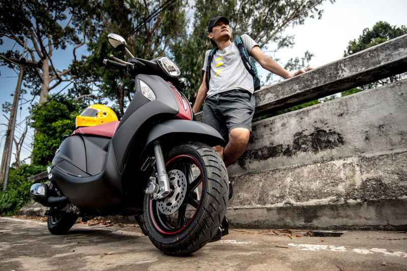 Man portrait with motorbike Biker Biker Life Casual Clothing Chon Buri Countryside Day Grand Filano Helmet Leisure Activity Lifestyles Motorbike Motorcycle Outdoors Parking Person Portrait Scooter SIR Sriracha Thai Yamaha