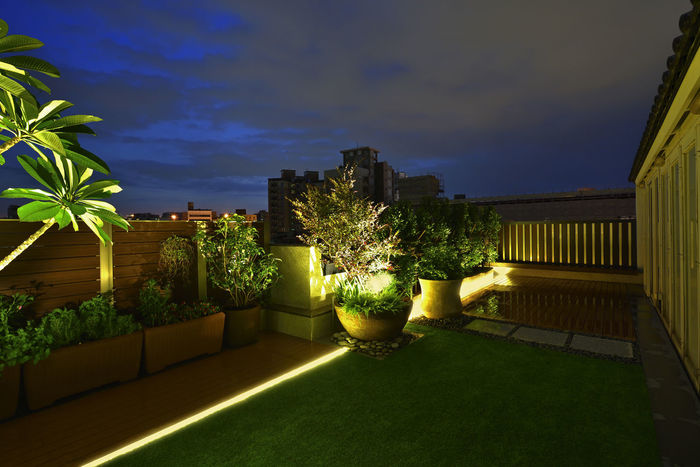 Warm and bright home environment, artificial turf and plank with the use of space. Artificial Turf Beautiful Home Life Modern Architecture Beauty In Nature Board Building Exterior Built Structure Cloud - Sky Day Garden Design Grass Growth Illuminated Landscape Luxury Nature No People Outdoors Plant Sky Space Sunlight Tree