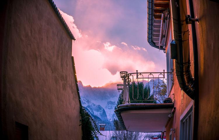 #cityview #garmisch-partenkirchen #alps #zugspitze #nopeople #sunset #clouds #snowymountain #mountain #cold #winter Outdoors Water