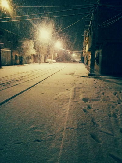 Snow For Night ❤ 6:00 am Illuminated Electricity  Cable Night Cold Temperature No People Snow Sky Outdoors Nature Winter