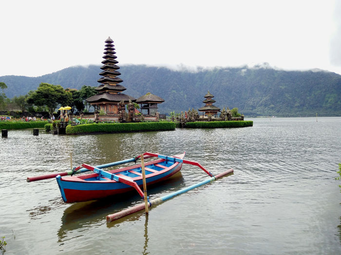 Architecture Beauty In Nature Boat Built Structure Day Idyllic Lake Mountain Mountain Range Nature No People Outdoors Rippled Scenics Sky Temple - Building Tourism Bedugul Bali, Indonesia Travel Destinations Water Waterfront Bedugul Temple Bedugulbali