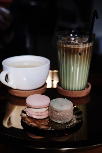 Food And Drink Still Life Indoors  Food Table Drink Indulgence Ready-to-eat Cup Focus On Foreground Macaroon Container Temptation Coffee Close-up Refreshment Sweet Freshness Sweet Food No People