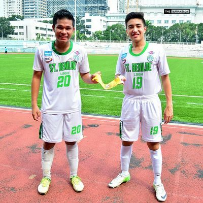 LSGH-CSB Football Team captain and co-captain @waffyartillera @renzoherbosa ⚽⚽⚽ . . . NCAA Ncaa90 Ncaaseason90 CSBvsSBC LSGH Greenies lasalle onelasalle sbspotlight soccerbible juniors football bootspotting themanansala