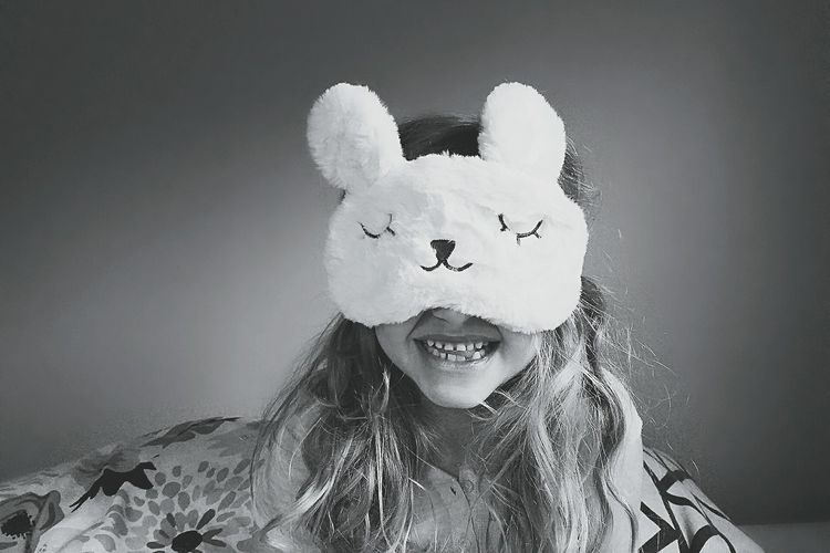 Babies first sleep mask. Love Looking At Camera Portrait Indoors  Fun Smiling One Person Bunny  Mask Black And White