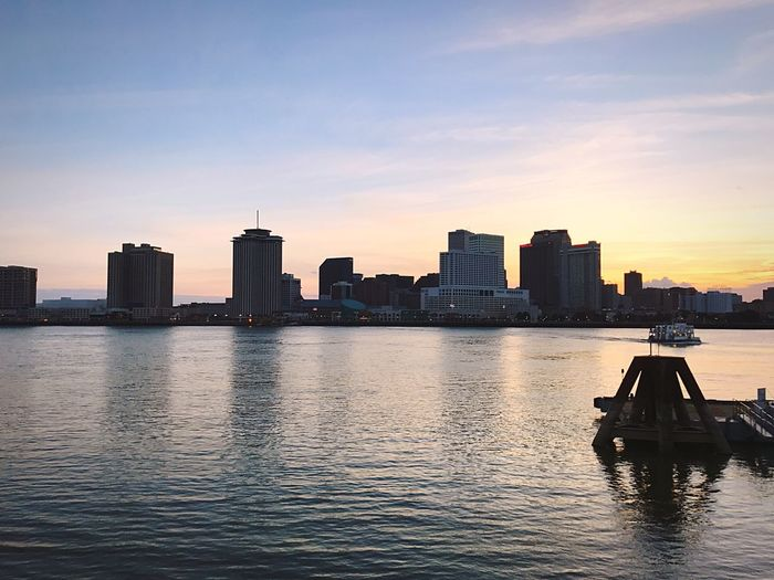New Orleans Mississippi River River Waterscape Water Sunset Urban Skyline Waterfront Travel Destinations Outdoors No People First Eyeem Photo
