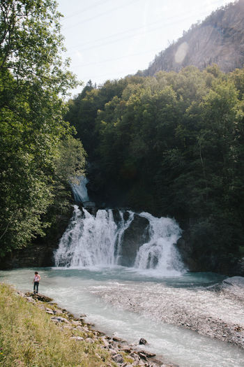 High Angle View Of Woman Standing By Reichenbach Falls