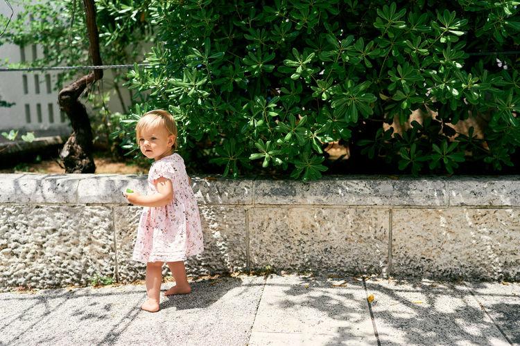 Full length of cute girl against plants
