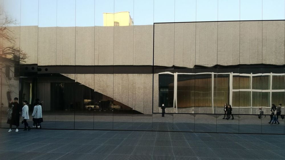 Walking Building Exterior Architecture Outdoors Real People People Sky Museum Prada Foundation Milan,Italy Shadow And Light Reflections And Shadows Reflection Mirror Reflection Mirror