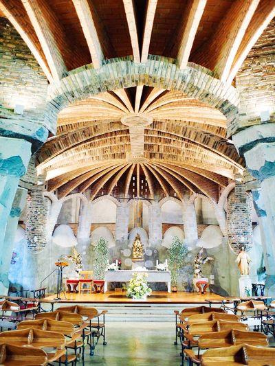 SPAIN Barcelona Antoni Gaudí Antonio Gaudi Gaudi Church Colònia Güell Architecture Built Structure Ceiling Indoors  Religion Belief Place Of Worship Spirituality Art And Craft Building Travel Destinations