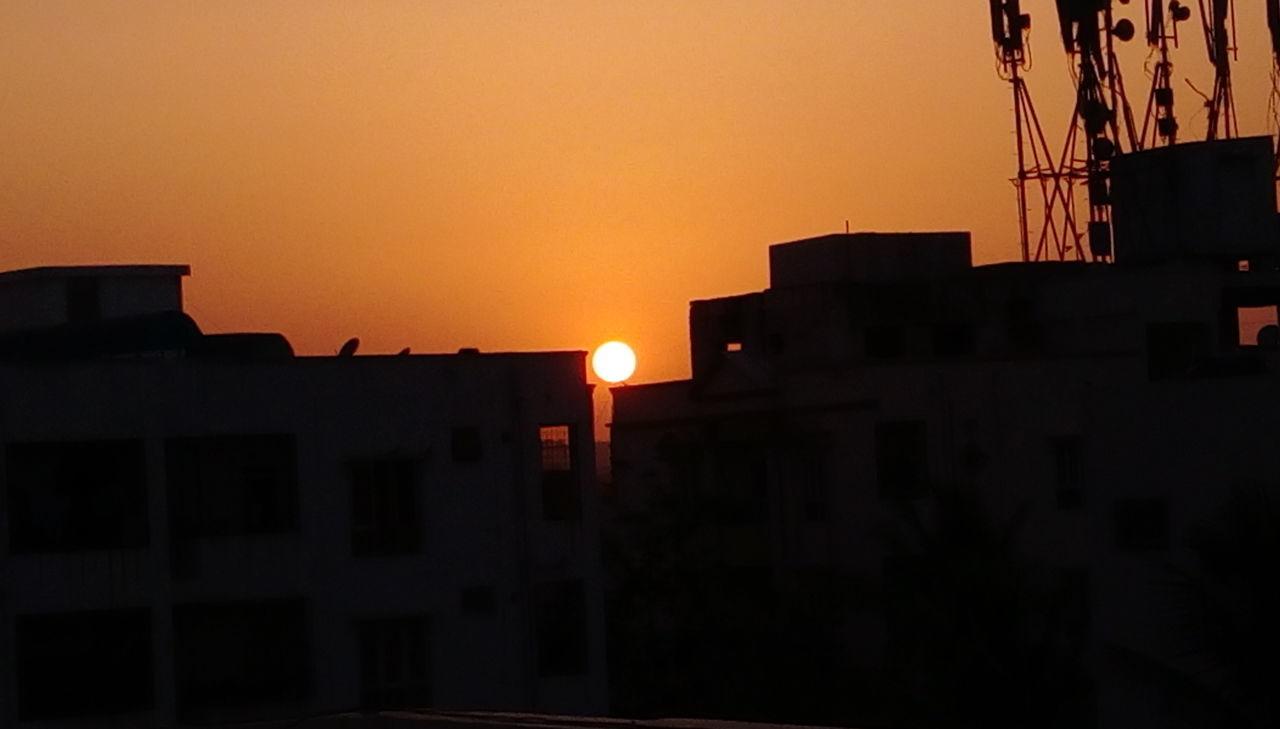 sunset, architecture, building exterior, built structure, orange color, silhouette, no people, city, outdoors, sky