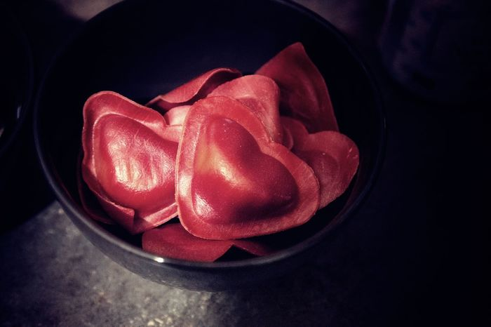 Ravioli Stuffed Bowl Close-up Container Directly Above Food Food And Drink Foodphotography Freshness Healthy Eating Heart Shape High Angle View Indoors  Love No People Pink Color Red Snack Still Life Table Vegetable Wellbeing