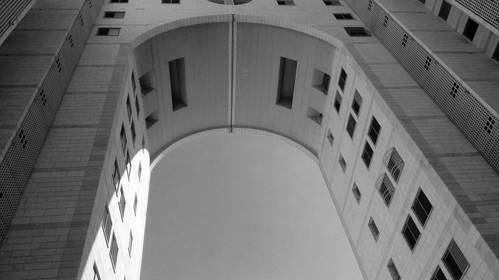 Monochrome Photography Arch Architecture Built Structure Blue Window Building Exterior Arched Low Angle View Day Archway History Arcade Architectural Feature Historic No People Medieval Local Landmark Façade Architectural Column Israel Modiin, Israel Minimalist Architecture