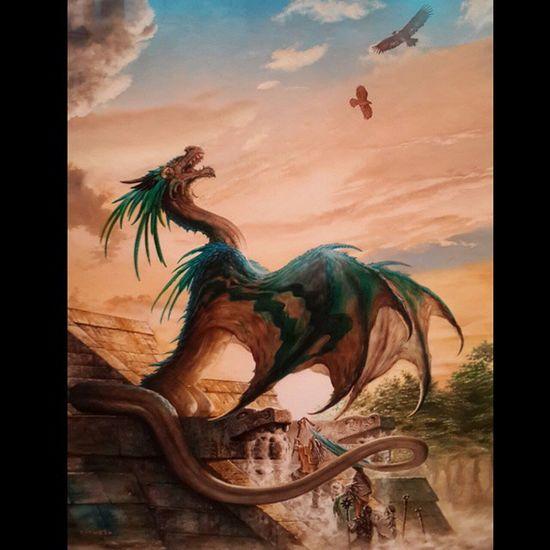 """""""El regreso de Quetzalcoatl """" Oil Canvas Dragon ciruelo painting masterpiece mexico"""