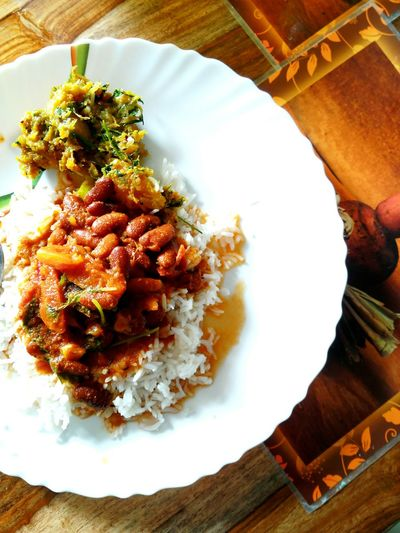 Food And Drink Food Freshness Ready-to-eat Plate Table High Angle View Healthy Eating Indoors  Serving Size No People Close-up Day Indian Homemade Red Kidney Bean Curry Rice Pumpkin Sauteed