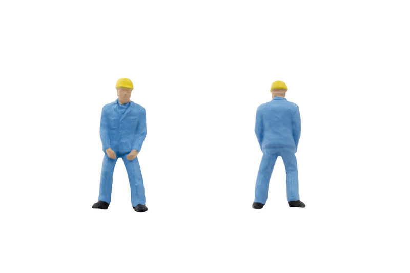 Miniature Worker People White Background Toy Engineer Figure Concept Construction Human Little Mini Space Figurine  person Closeup Male Model Macro Small Job Employee Isolated Build Work Copy-space Clipping Path