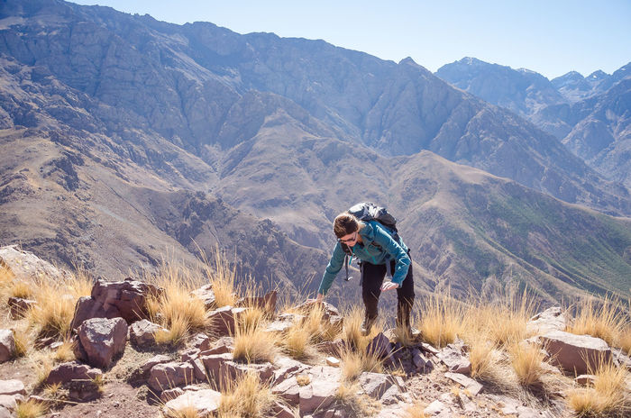 Hiking Imlil Trekking Activity Atals Beauty In Nature Casual Clothing Day Environment Land Leisure Activity Lifestyles Men Mountain Mountain Range Nature Non-urban Scene One Person Outdoors Real People Scenics - Nature Standing Toubkal Tranquil Scene Tranquility